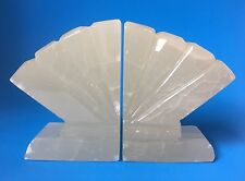 "Vintage Marble Alabaster Fan Sea Shell Bookends Art Deco 5"" Tall"