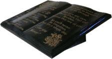 BLACK GRANITE MEMORIAL OPEN BOOK PLAQUE FOR GRAVE, CREMATION  & GARDEN