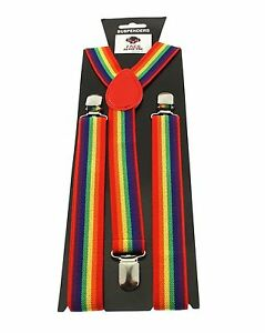 Pride Adjustable Braces 35mm Width Rainbow Suspenders Hen Party Christmas Gift
