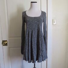 Free People Beach Marled Heather Grey French Terry Long Sleeve Skater Dress- S