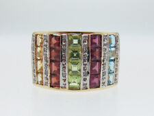 Large Mult-Color Stones Diamonds Solid 10K Yellow Gold Ring FREE Sizing