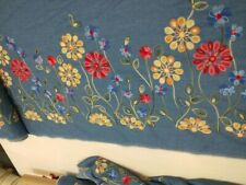 EMBROIDERED DENIM FABRIC - SOLD BY - 1/2MTR