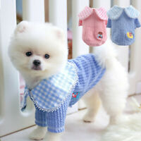Cute Small Dog Pet Plaid T Shirt Chihuahua Coat Jacket Puppy Clothes Washable