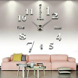 Modern DIY 3D Number Wall Clock Sticker Decor Home Office Room AU %
