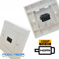 HDMI Wall Socket single Fits standard box White Finish - EASY INSTALL
