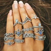 13 Pcs/Set Silver Midi Finger Ring Set Vintage Punk Boho Knuckle Rings Jewelry