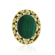 14k Yellow Gold Oval Malachite Cocktail Ring