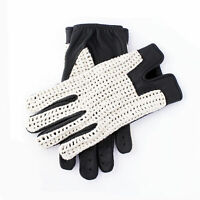 Men's Vintage Soft Black Goatskin 100% Geniune Leather Cotton Crochet Gloves