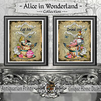 Set of 2 prints on Real Antique Dictionary Book Pages ALICE IN WONDERLAND