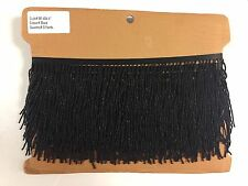 "By the Yard-4"" BLACK Seed Bead Beaded Fringe Lamp Costume Trim"