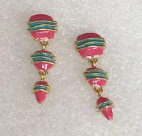 Vintage Pink Green Enamel Gold Tone Link Dangle Drop Pierced Earrings