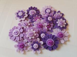 X18 Handmade Felt Flower Embellishments. Die cuts