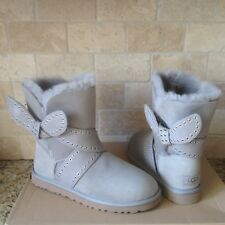 UGG Mabel Grey Suede Grommet Studded Bailey Bow Short Boots Size US 6 Womens NIB