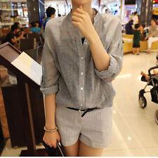 Women Sheer Soft Casual Linen Shirt Blouse Roll Up Sleeve Button Mandarin Collar