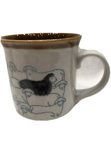 Vintage Otagiri Black Sheep Coffee Mug Embossed Glazed - Be The Stand Out One!