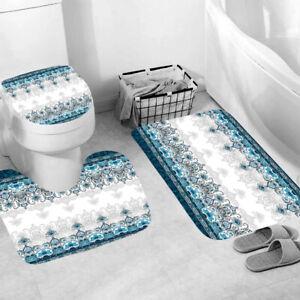 Modern Shower Curtain Bathroom Rug Set Thick Bath Mat Non-Slip Toilet Lid Cover