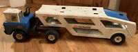 Vintage Tonka Mighty Car Carrier 1977 Pressed Steel Blue and White 43 Inches