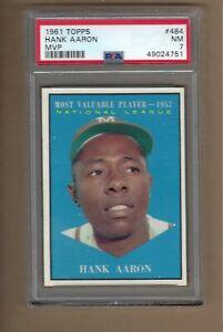 1961  TOPPS  HANK  AARON  MVP  #  484   PSA   7