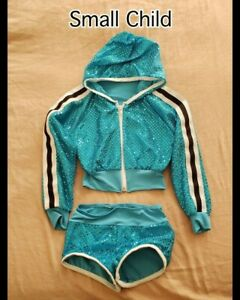 Small Child Blue Sequence Hip hop Art Stone Dance Costume