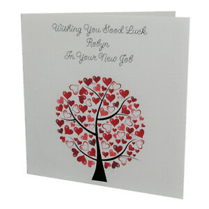 Handmade PERSONALISED Female Love Tree Good Luck In Your NEW JOB CARD