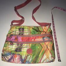 Kipling Crossbody Laptop Purse Handbag Lightweight Colorful Nylon Plaid Sporty