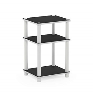 Furinno End, Side Tables, Engineered Wood, White/Espresso, 1-Pack