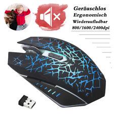Kabellos Gaming Maus USB Optisch Mouse LED Geräuschlos Mäuse PC Computer Laptop