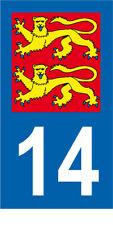 Département 14 MOTO 1 autocollant style plaque moto 3 x 6 cm LIONS