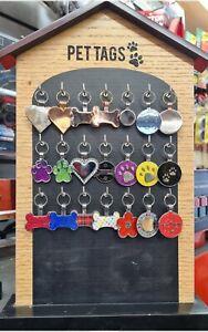 Pet tag display stand, shoe repair machine, engraving supplies