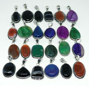 50 Pcs Lot Natural Multi Banded Agate 925 Sterling Silver Plated Pendants VPC16
