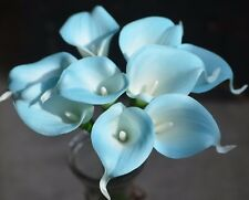 9 Blue Calla Lilies Real Touch Flowers For Silk Wedding Bouquets Centerpieces