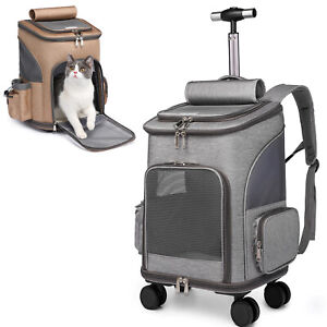 Rolling Wheeled Pet Carrier Backpack Pet Stroller , Car Seat for Dogs Cats Puppy