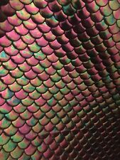 "New 4 Way Stretch Petrol Mermaid Iridescent Fish Scales 60"" Inch Sold By Yard"