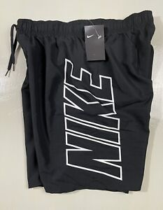 "Nike NESS9508-001 Mens Size LARGE 9"" Volley Swim Trunk Board Shorts Black/White"