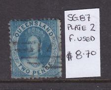 Qld: 2d Deep Blue Plate 2 Qv Sg 87 F.Used