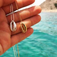 2018 Boho Beach Sea Shell Cowrie Pendant Gold Plated Chain Necklace Jewelry