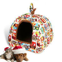 Owl Pattern Pet Dog House Warm Soft Blanket Kennel Kitten Nest Puppy Supplies