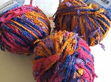 LOT of 3 Laines du Nord Lampi #59 Pink Purple Orange Yarn with Ribbon Flags