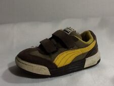 PUMA Brown Yellow Leather Boys size 7 Toddler Infant Walking Shoe Sneaker Straps