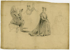 Antique Drawing-READING-COSTUME-SKETCH-ACADEMY-Wallcot-1838
