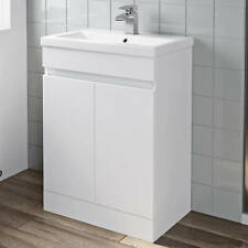 600mm Bathroom Vanity Unit Basin Storage 2 Door Cabinet Furniture White Gloss