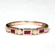 14K Rose Gold Diamond & Ruby Ring Band 0.40 TCW Size 6.5
