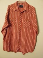 S6851 Wrangler Men's XL Red/White Striped Pearl Snap Long Sleeve Western Shirt