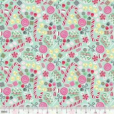 By 1/2 Yard Blend Fabric Sugar Rush ~ Christmas Candy Crush in Blue Peppermint