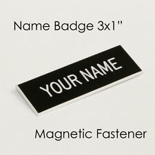 "Name Badge Tag Magnetic Black Personalised Engraved Employee Customised 3x1"""