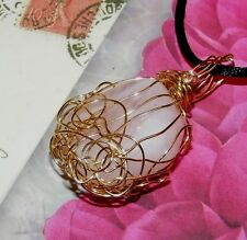 STUNNING HAND-CRAFTED GOLD-WIRE-WRAPPED ROSE QUARTZ CRYSTAL PENDANT 2 INCHES
