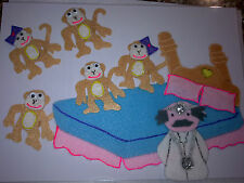 FELT BOARD STORY RHYME TEACHER RESOURCE - 5 CHEEKY MONKEYS JUMPING ON THE BED