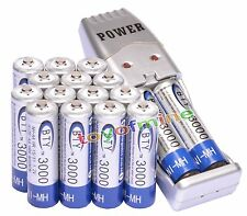 16x AA 2A 3000mAh 1.2 V Ni-MH BTY Rechargeable Battery Cell + AA AAA USB Charger