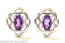 9ct White Gold Amethyst Studs Earrings Gift Boxed Made in UK