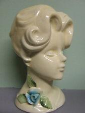 Vintage Lady Head Vase with Blue Rose/Flower